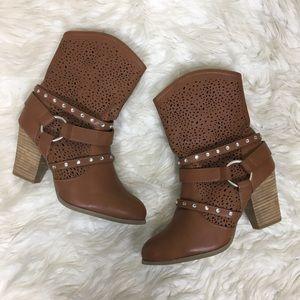 Joan Boyce Perforated Rhinestone Western Boots